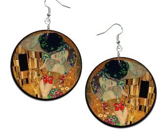 The Kiss - Gustav Klimt - handmade earrings - decoupage, The Kiss Jewelry, Hypoallergenic Earrings