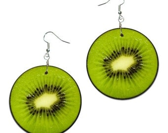 Kiwi fruit -  handmade earrings - decoupage, Food Jewelry, Summer Earrings, Summer Earrings