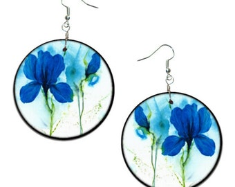 Flowers - handmade earrings - decoupage, blue iris earrings, iris jewelry, Hypoallergenic Earrings