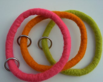 Dog collar with O-Ring, felted, colourful, felted dog collar, eco friendly, 1,5cm, made to order