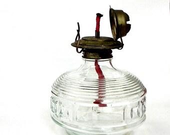 Vintage large glass oil lamp