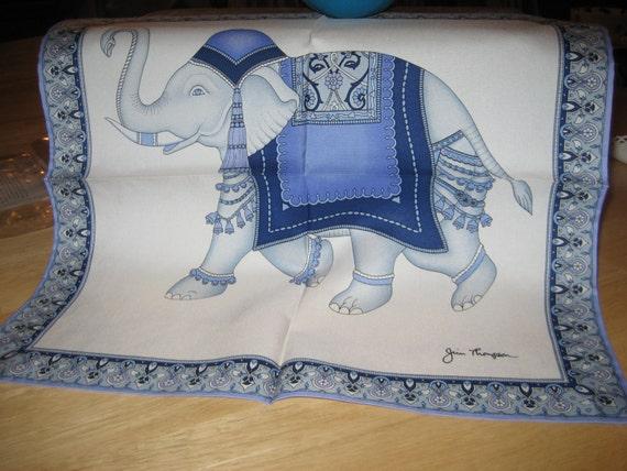 Signed vintage jim thompson thai silk elephant scarf for Thai silk jim thompson