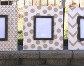 Chevron, Moroccan and Polka Dot Distressed Frame Collage. colors: Mystique white, Taupe, with Mudslide Brown.