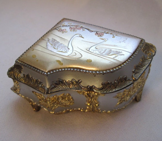 Piano Music Box Made In Japan Vintage Gold By