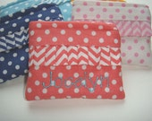 Personalized Coin Purse or Card Case in Coral Polka Dot with Chevron Ruffle