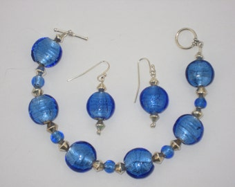 Blue Round Glass Bead Bracelet and Earring Set