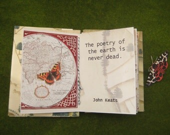 Writer's gift, handmade book, Book Art, coptic stitched book ,artist book, nature, quotation, stocking gift