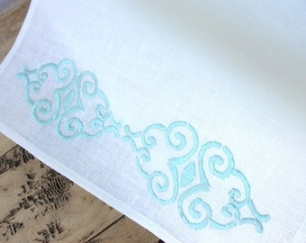 White linen table runner with turquoise hand embroidery Vintage Wedding Linens  handmade in the USA