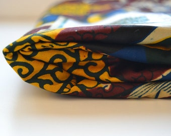 African Cotton Fabric - Yellow, Red, Blue, White