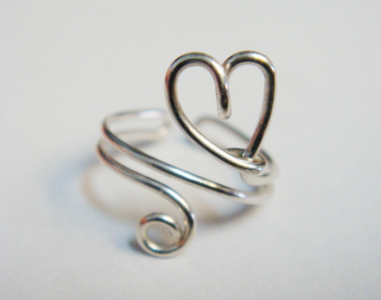 heart ear cuff sterling silver filled ear wrap by. Black Bedroom Furniture Sets. Home Design Ideas