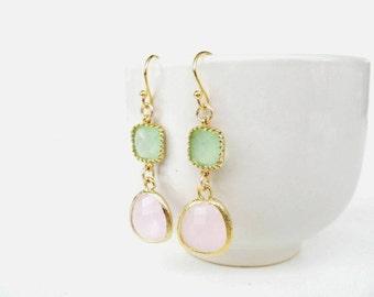 Mint and pink earrings. Framed stone earrings. Mint glass earrings. Bridal jewelry, mint bridesmaids earrings, pink bridesmaids earrings