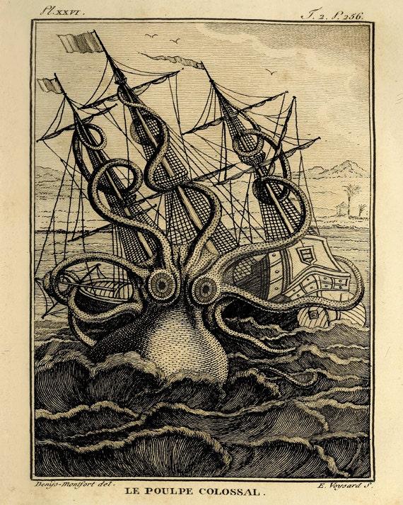 Giant Octopus art print old prints Nautical art print Ocean