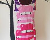 Lip Smacker Kiss My Booty Dress  Cotton Print lip dress with Pink Red and Purple LIp