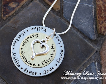 Mother's/Grandmother's Heart of The Family/Tree of Life Necklace - LARGE