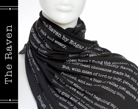 The Raven poem on the scarf - Straight Scarf - Black -Text Scarf - Book - Edgar Allan Poe - Poetry