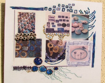 Blue fabric collage,  Hand embroidery art, Wall hanging embroidered collage, Fiber art works