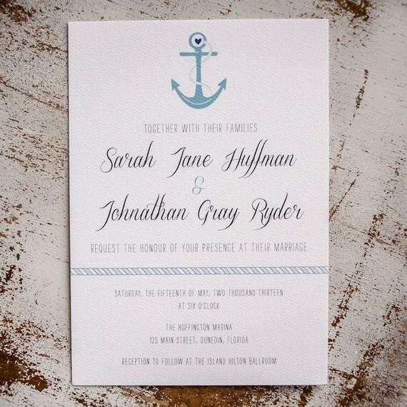 Nautical Wedding Invitation Wedding Invitation The