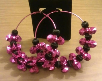 Basketball wives and love and hip hop inspired  80mm hot pink hoop with black thread bead and pink flower petal bead
