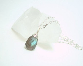 Labradorite Necklace, Silver Necklace, Labradorite Pendant, Faceted Labradorite Briolette