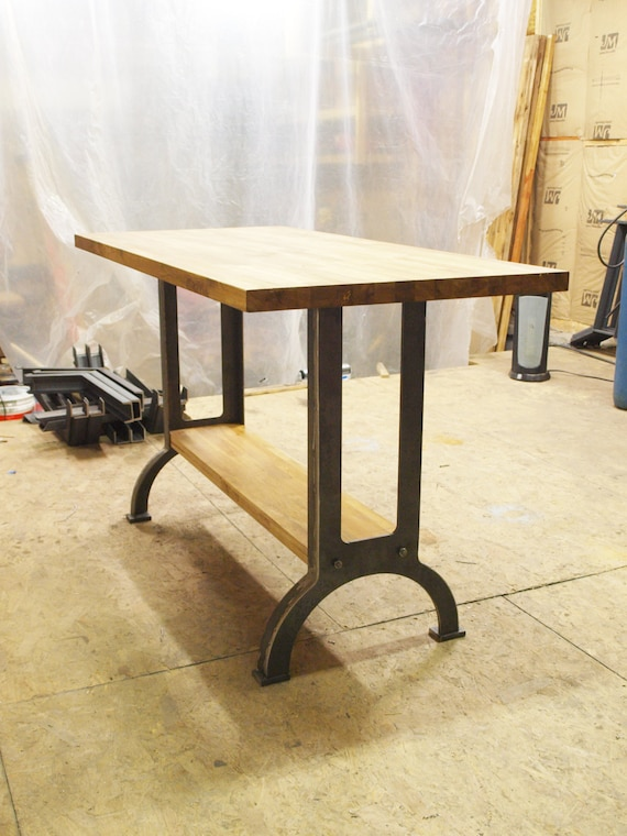 Industrial Table Kitchen Island Oak Top Metal Machine Base