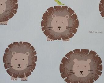 Lion Fabric in White - Kawaii Japanese Fabric - Animal Fabric - Safari Lions and Birds - Cocoland - HALF YD