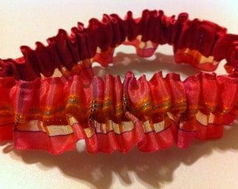 Bridal Garter - Pink & Orange ruffle ribbon