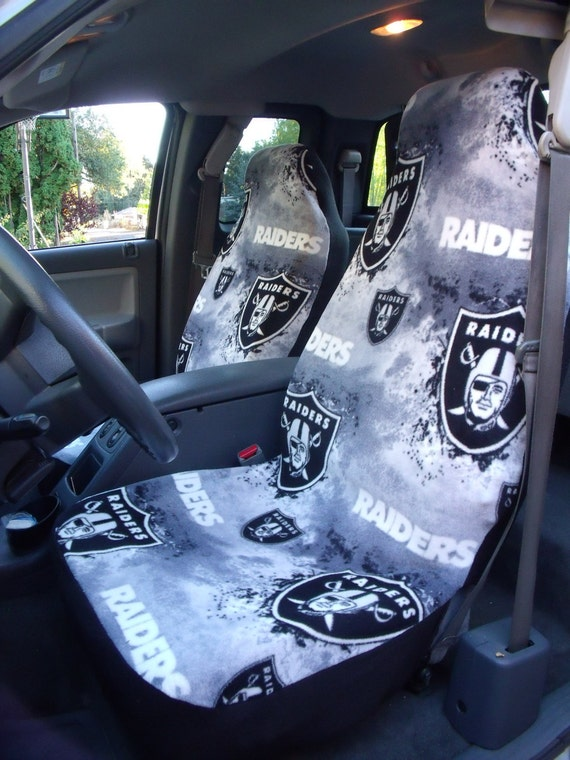 1 Set of NFL Raiders Print  Seat Cover and 1 Piece of Sheering Wheel Cover Custom Made