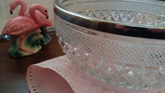 Crystal Glass Diamond Starbust Cut Serving Bowl Silver Rim
