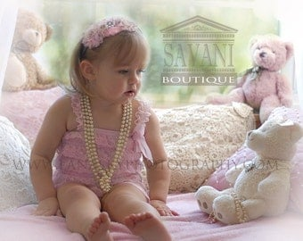 BEST SELLER  light  pink Lace Romper, Petti romper, Lace Petti Romper, Romper