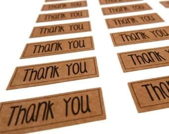 Thank You Sticker -  Rectangle Sticker - Kraft Sticker - Kraft Label - 1.25 inches - 60 Count - Thank You Label - Wedding Favor Sticker