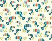 SALE - Fabric - Safari Soiree Toucan Tango from Birch Organic Fabric - 1/2 Yard