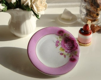 Shabby Pink Rose Plate for Dollhouse
