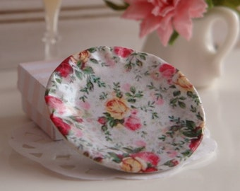 Old Country Roses Plate for Dollhouse