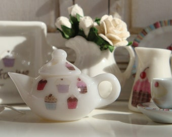 Sweetest Cupcakes  Teapot for Dollhouse