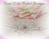 Lily  -  Glass pearl, silver lined seed beads and diamante side tiara
