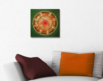 ORIGINAL mandala painting, spiritual art, meditation art, mandala art, orange green