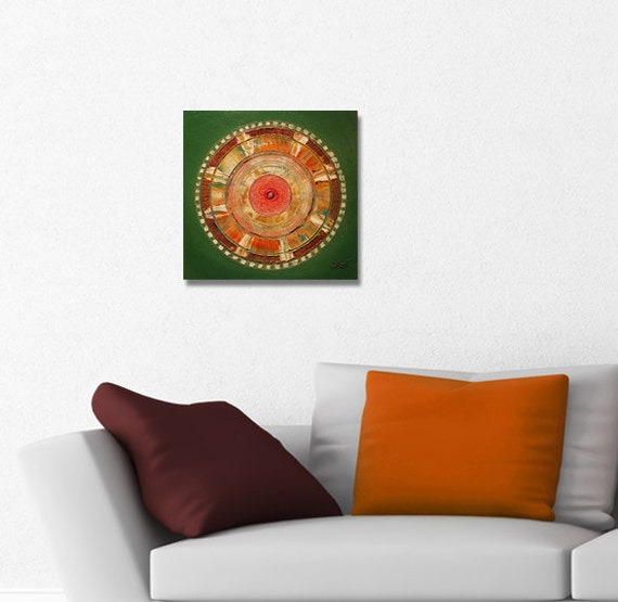 ORIGINAL mandala painting, spiritual art, meditation art, mandala art, orange green