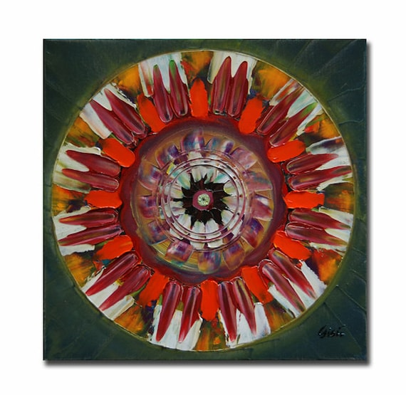 Original mandala painting, spiritual art, meditation art, mandala art, green red