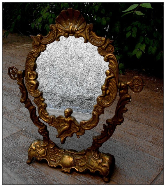 French Antique Solid Bronze Vanity Mirror With Cherubs Angels