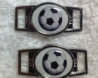 Custom Soccer Ball  Paracord  Shoe Lace Charm set of two (2) of your choice oval or rectangle