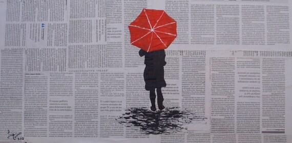 Woman Umbrella Painting Umbrella Painting Collage