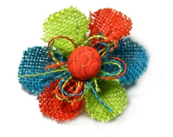Orange, Teal and Lime Green Flower Hair Clip with an Orange Center