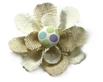 Cream and White Flower Pin, Flower Brooch, Spring Hair Clip - Lavender Dots Center