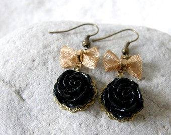 Black Rose Flower Cabochon & Bow Dangle Earrings, Vintage Inspired, Mom and Sister Gift