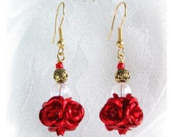 Earrings. Red Rose Earrings