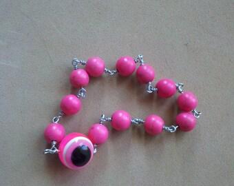 Hot Pink Magnesite Evil Eye Bracelet