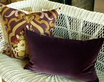 "BELGIUM VELVET Designer Pillow Cover in Plum Lumbars, Accent Pillow, Toss Pillow, Throw Pillow, Decorative Pillow and 16"", 18"", 20"", 22"" sq."