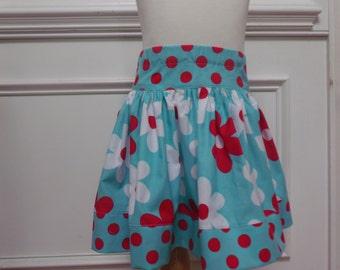 girl skirt michael miller daisy fabric aqua red skirt summer skirt spring skirt twirly skirt girl skirt michael miller skirt