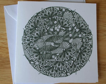Lace design 7 blank greeting card