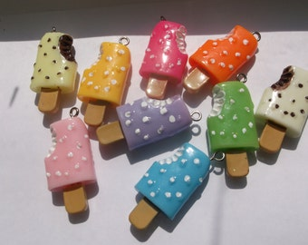 9 pc.  Resin Ice Cream Stick Charms/Pendants - Mixed